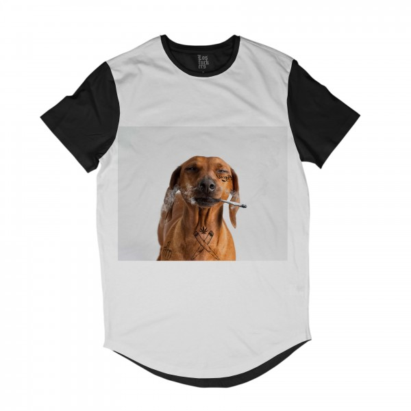 Camiseta Los Fuckers Longline Snoop Dog Full Print Preto Branco