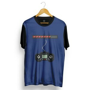 Camiseta Insane 10 Video Game Pixelado Full Print Preto Azul