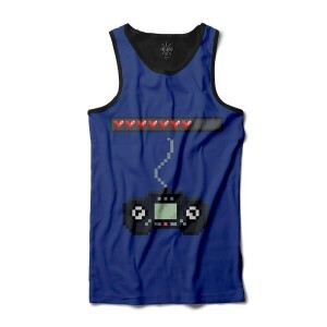 Camiseta BSC Regata Video Game Pixelado Sublimada Preto Azul