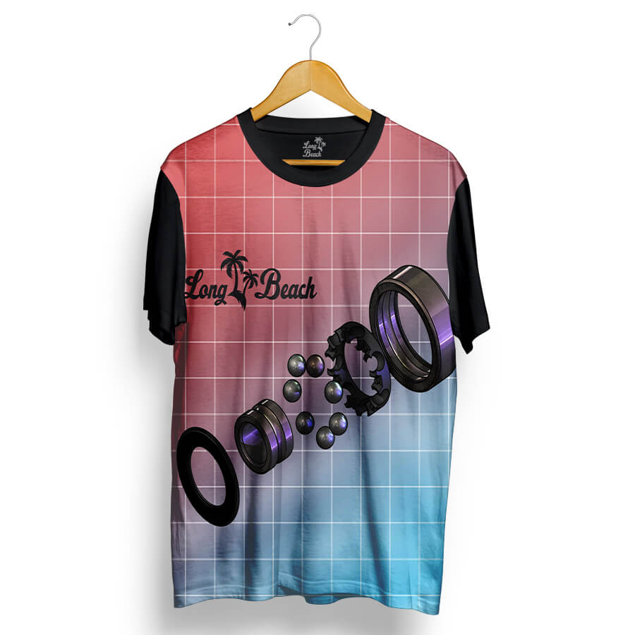 Camiseta Long Beach Rolamento Full Print Preta Roxa