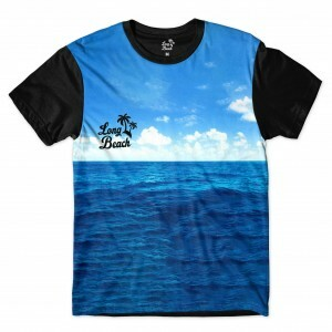 Camiseta Long Beach Mar Full Print Preta Azul
