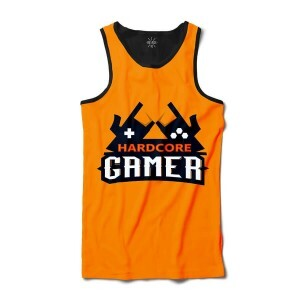 Camiseta Insane 10 Regata Hard Core Gamer Full Print Preta Laranja