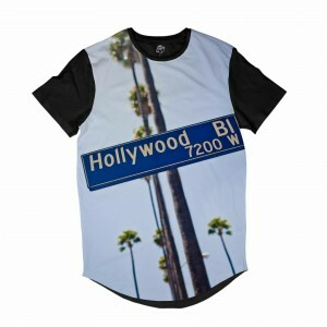 Camiseta BSC Longline Placa Hollywood BL Sublimada Preta Branca