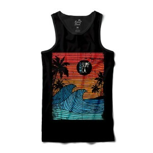 Camiseta Long Beach Regata Ondas Full Print Preta Vermelha