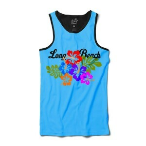 Camiseta Long Beach Regata Floral Full Print Preta Azul