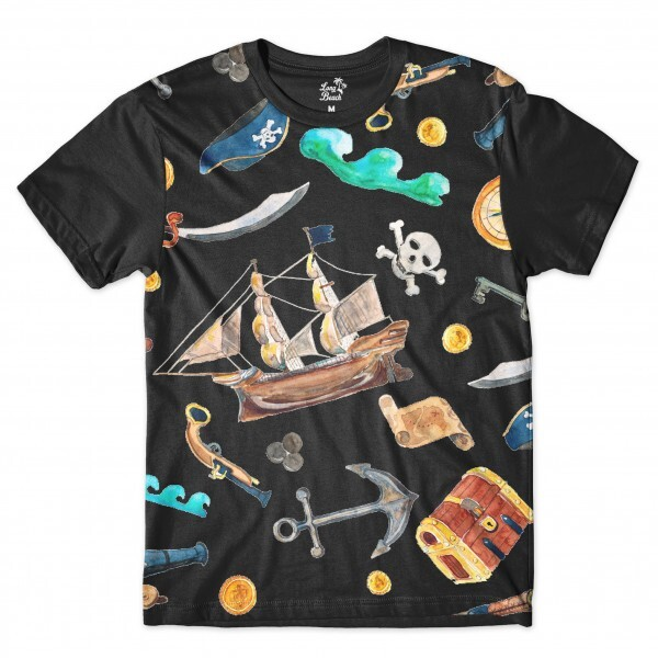 Camiseta Long Beach Náutica Elementos Piratas Full Print Preto