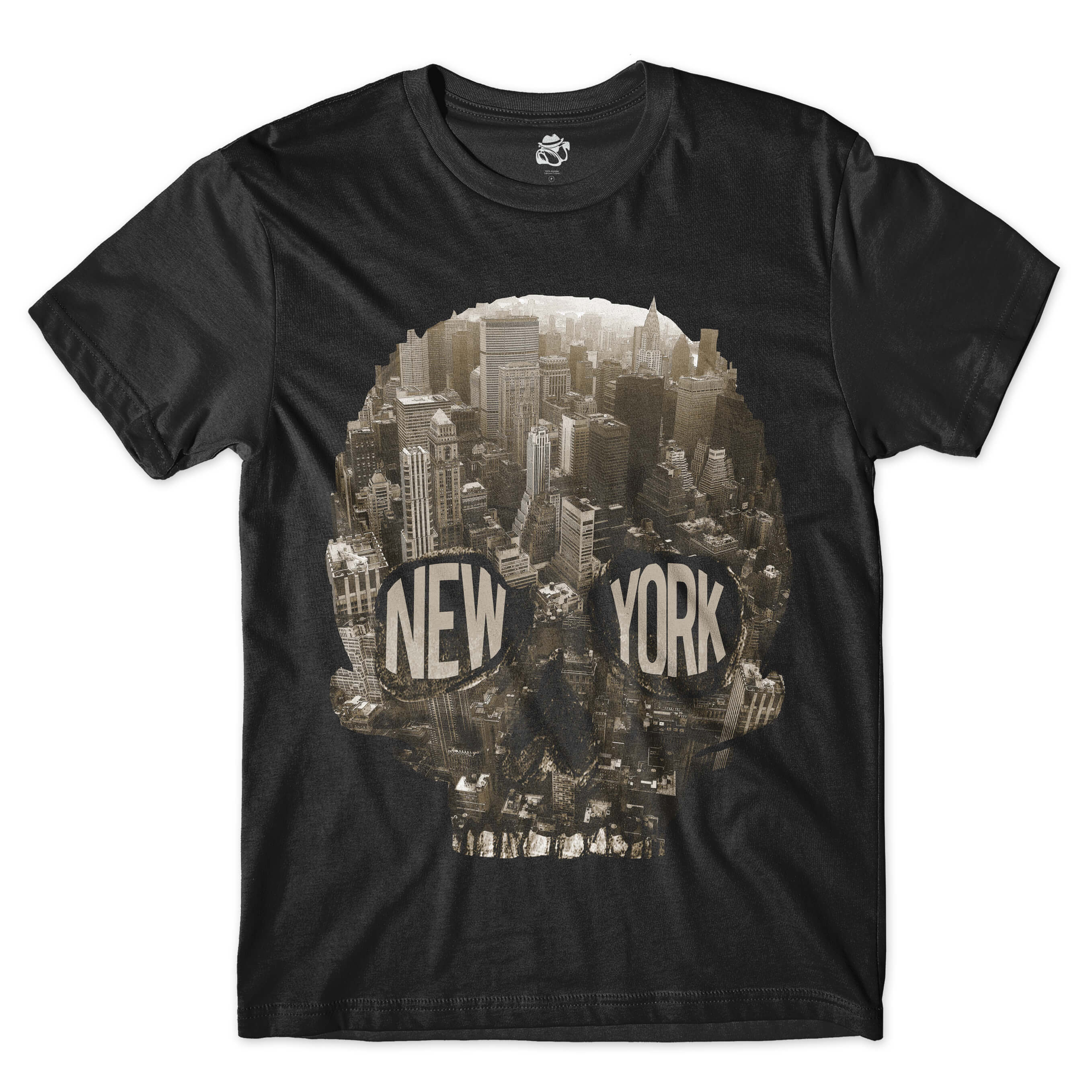 Camiseta BSC Caveira New York City Full Print Preto