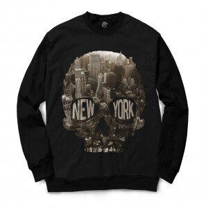 Moletom Gola Careca BSC Caveira New York City Full Print Preto