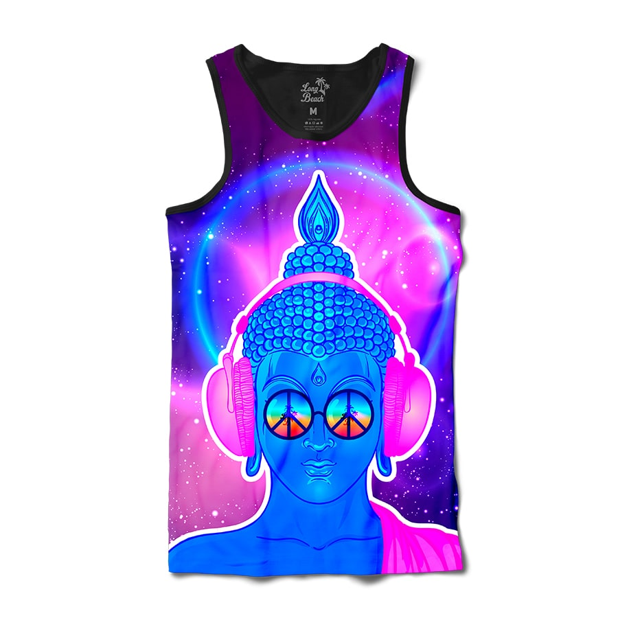 Camiseta Regata Long Beach Psicodélica Buddah Full Print Roxo Brilho