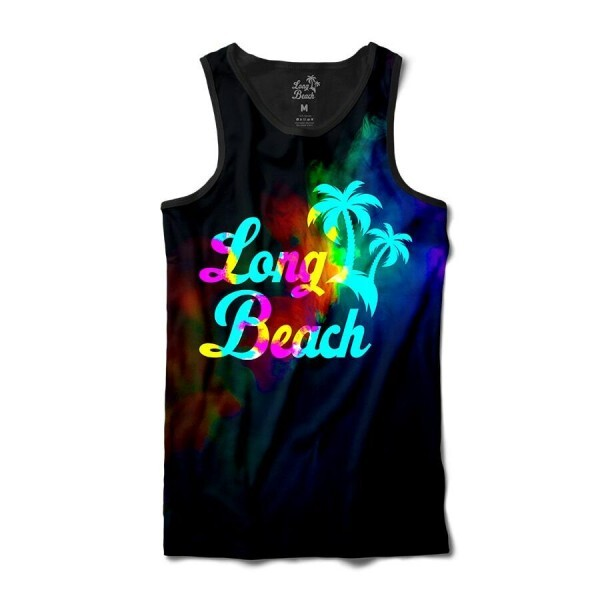 Camiseta Regata Long Beach Psicodélica Neblina Full Print Preto