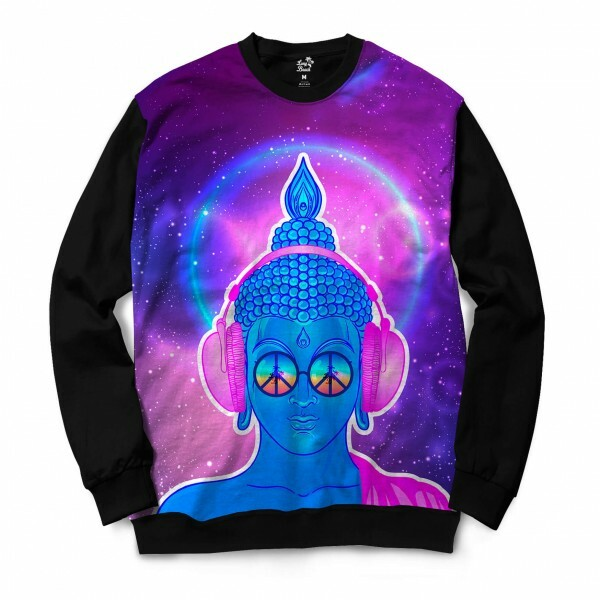 Moletom Gola Careca Long Beach Psicodélica Buddah Full Print Roxo Brilho