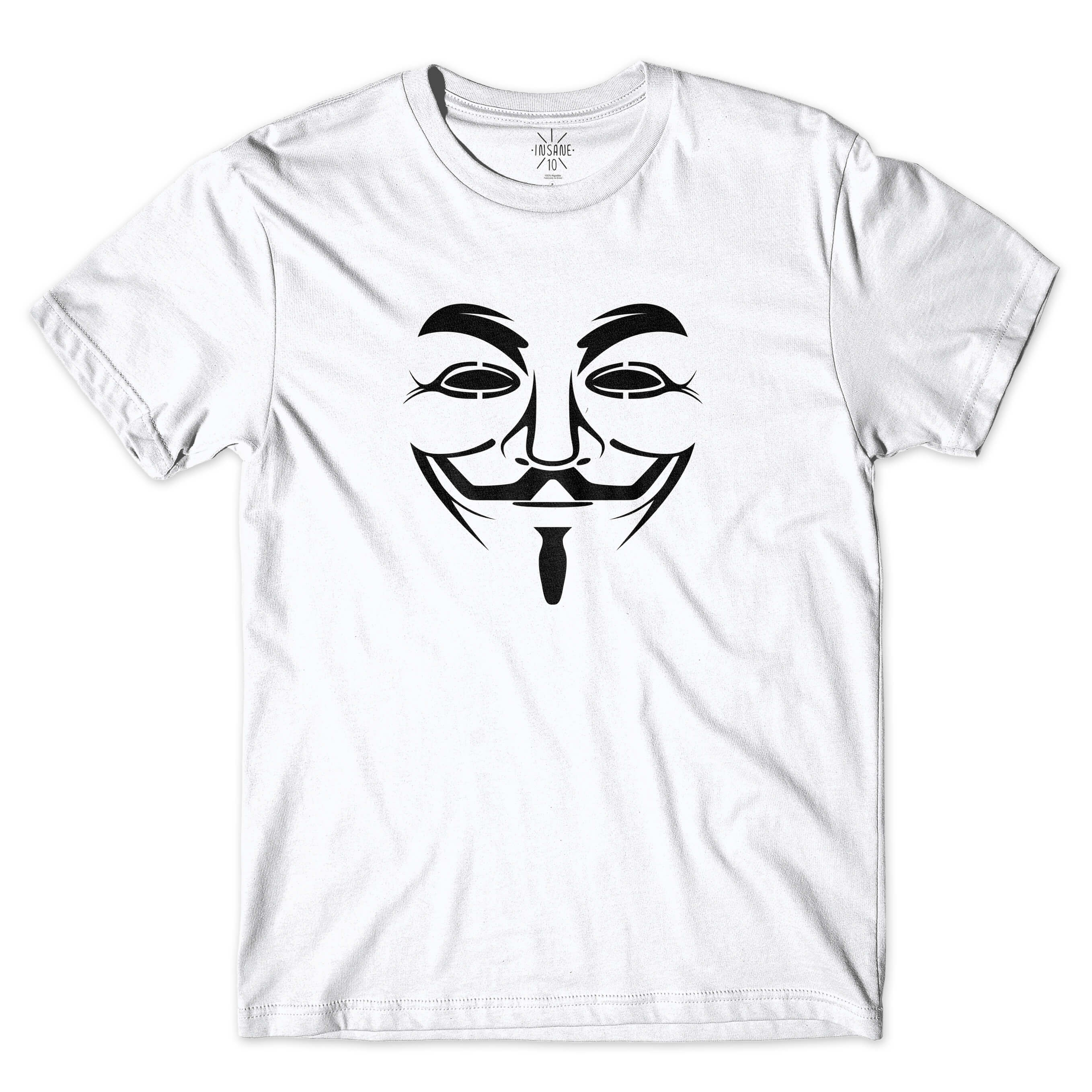 Camiseta Insane 10 Hacker Máscara Guy Fawkes Branco
