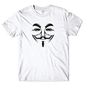 Camiseta BSC Hacker Máscara Guy Fawkes Branco