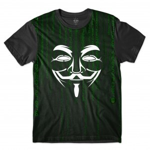 Camiseta Insane 10 Hacker Máscara Guy Fawkes Binários Full Print Preto