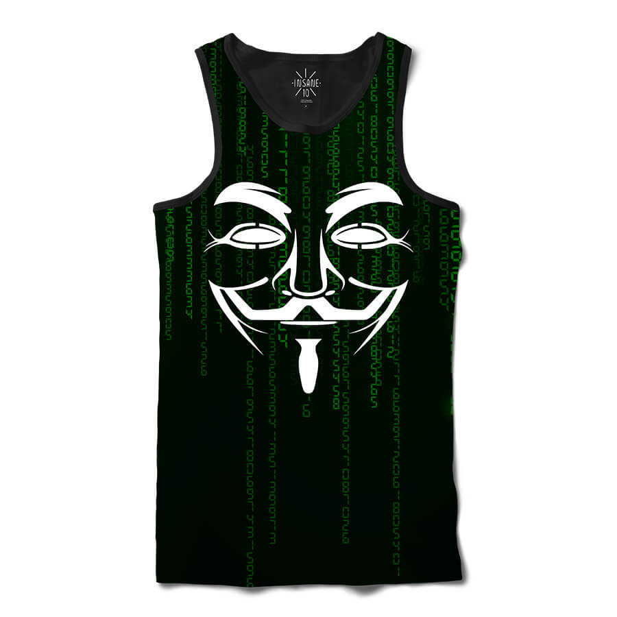 Regata Insane 10 Hacker Máscara Guy Fawkes Binários Full Print Frente Preto