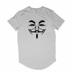 Camiseta Longline Insane 10 Hacker Máscara Guy Fawkes Branco