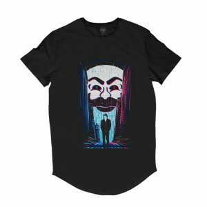 Camiseta Longline Insane 10 Hacker Mr. Robot FSociety Full Print Frente Preto