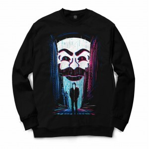 Moletom Gola Careca Insane 10 Hacker Mr. Robot FSociety Full Print Preto