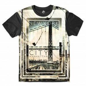 Camiseta BSC New York City Manhattan Full Print Preto