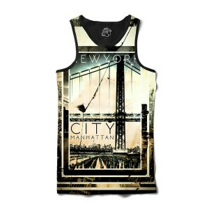 Camiseta Regata BSC New York City Manhattan Full Print Preto