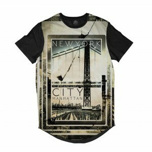 Camiseta Longline BSC New York City Manhattan Full Print Preto