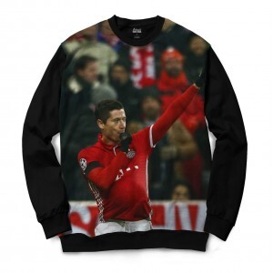 Moletom Gola Careca Attack Life Deuses do Futebol Lewandowski Full Print Preto