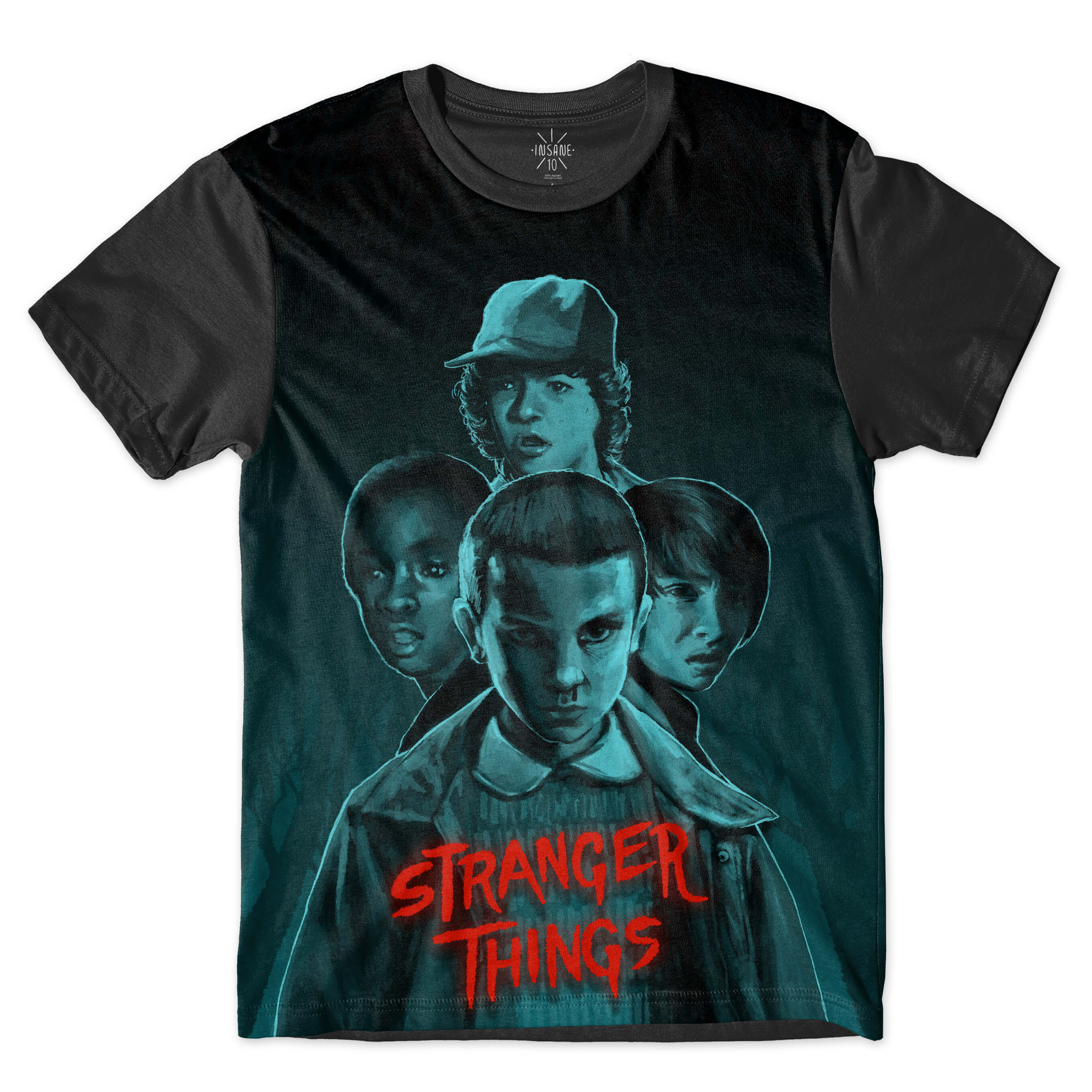 Camiseta Insane 10 Stranger Things Grupo Full Print Azul