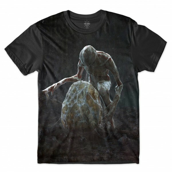 Camiseta BSC Stranger Things Ovo Demogorgon Sublimada Cinza