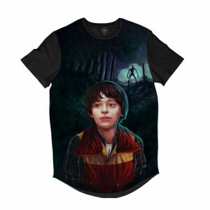 Camiseta Longline BSC Stranger Things Will Byers Sublimada Cinza