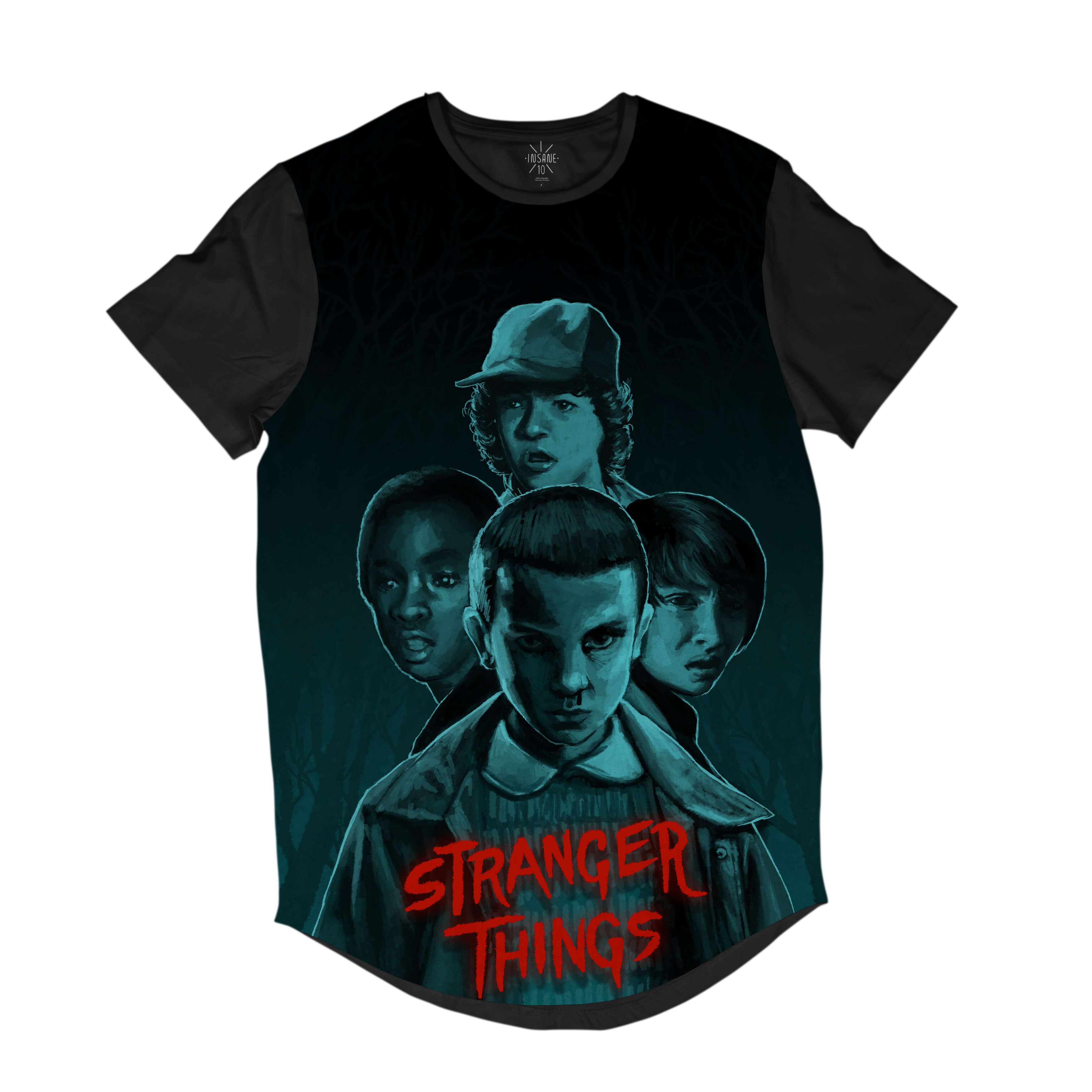 Camiseta Longline Insane 10 Stranger Things Grupo Full Print Cinza