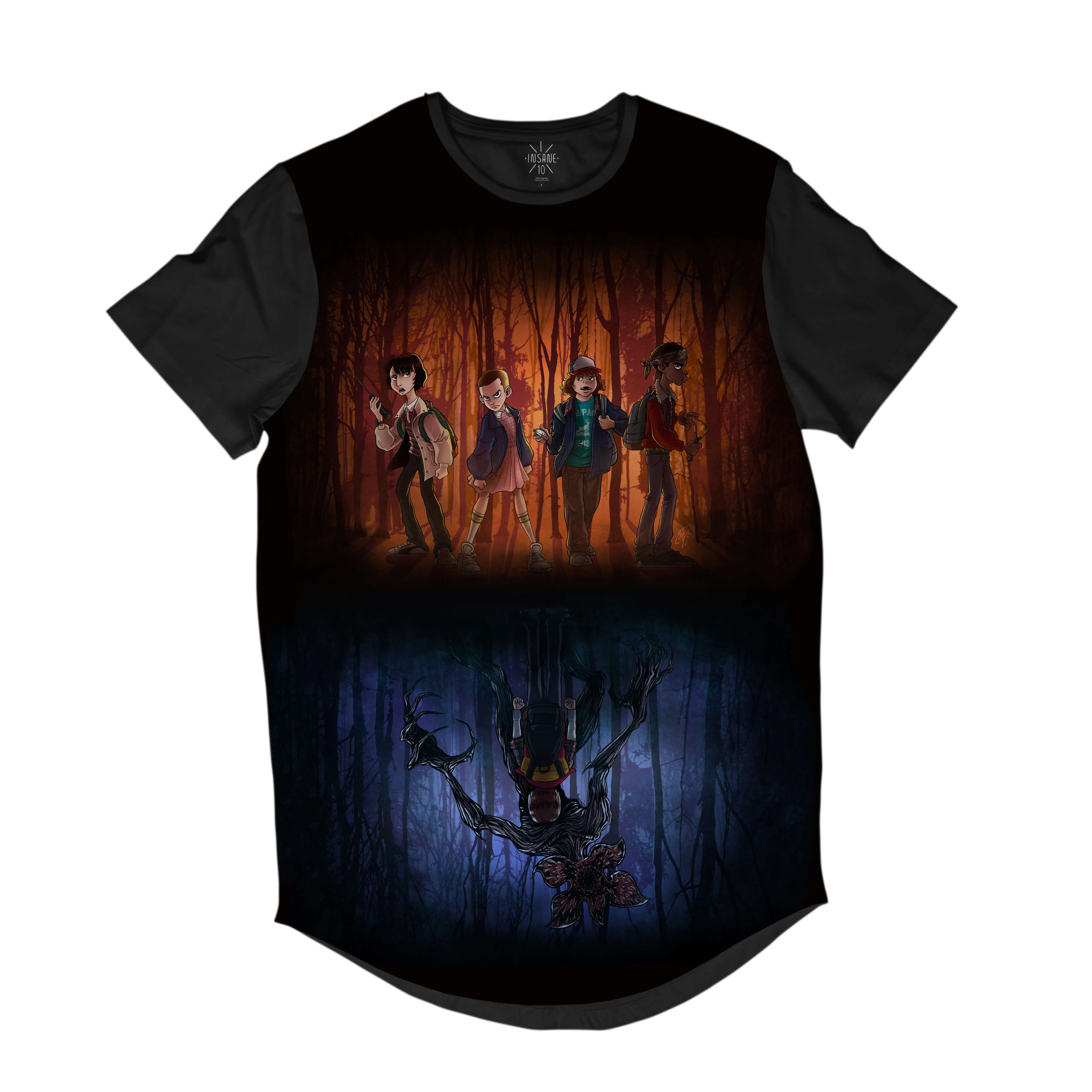 Camiseta Longline Insane 10 Stranger Things Mundos Full Print Azul