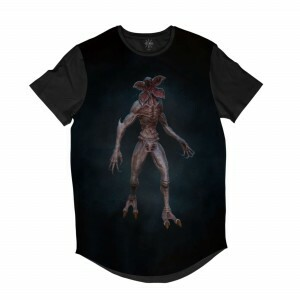 Camiseta Longline Insane 10 Stranger Things Demogorgon Full Print Preto