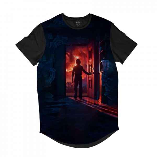 Camiseta Longline BSC Stranger Things Will Byers Porta Sublimada Preto