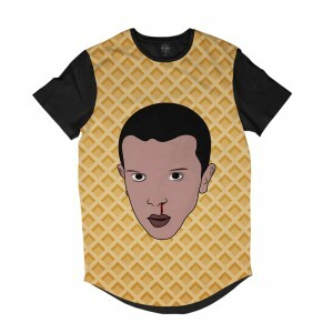 Camiseta Longline Insane 10 Stranger Things Eleven Waffle Full Print Preto
