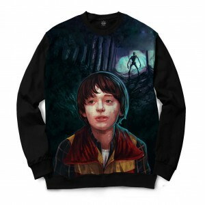 Moletom Gola Careca Insane 10 Stranger Things Will Byers Full Print Preto