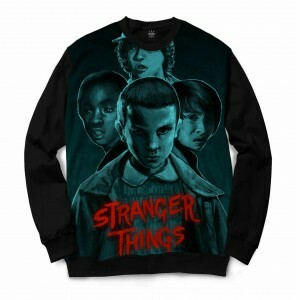 Moletom Gola Careca Insane 10 Stranger Things Grupo Full Print Cinza