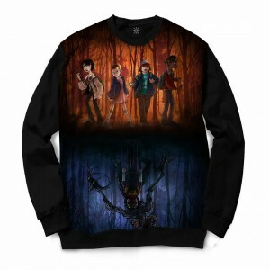 Moletom Gola Careca Insane 10 Stranger Things Mundos Full Print Azul