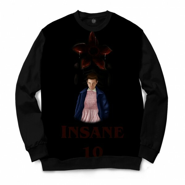 Moletom Gola Careca Insane 10 Stranger Things Eleven Demogorgon Full Print Cinza