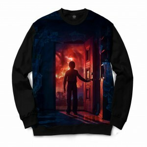 Moletom Gola Careca Insane 10 Stranger Things Will Byers Porta Full Print Preto