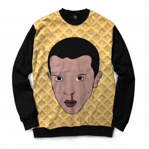 Moletom Gola Careca Insane 10 Stranger Things Eleven Waffle Full Print Preto