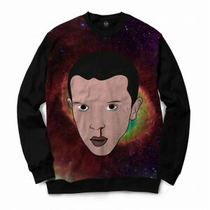 Moletom Gola Careca Insane 10 Stranger Things Eleven Galáxia Full Print Preto