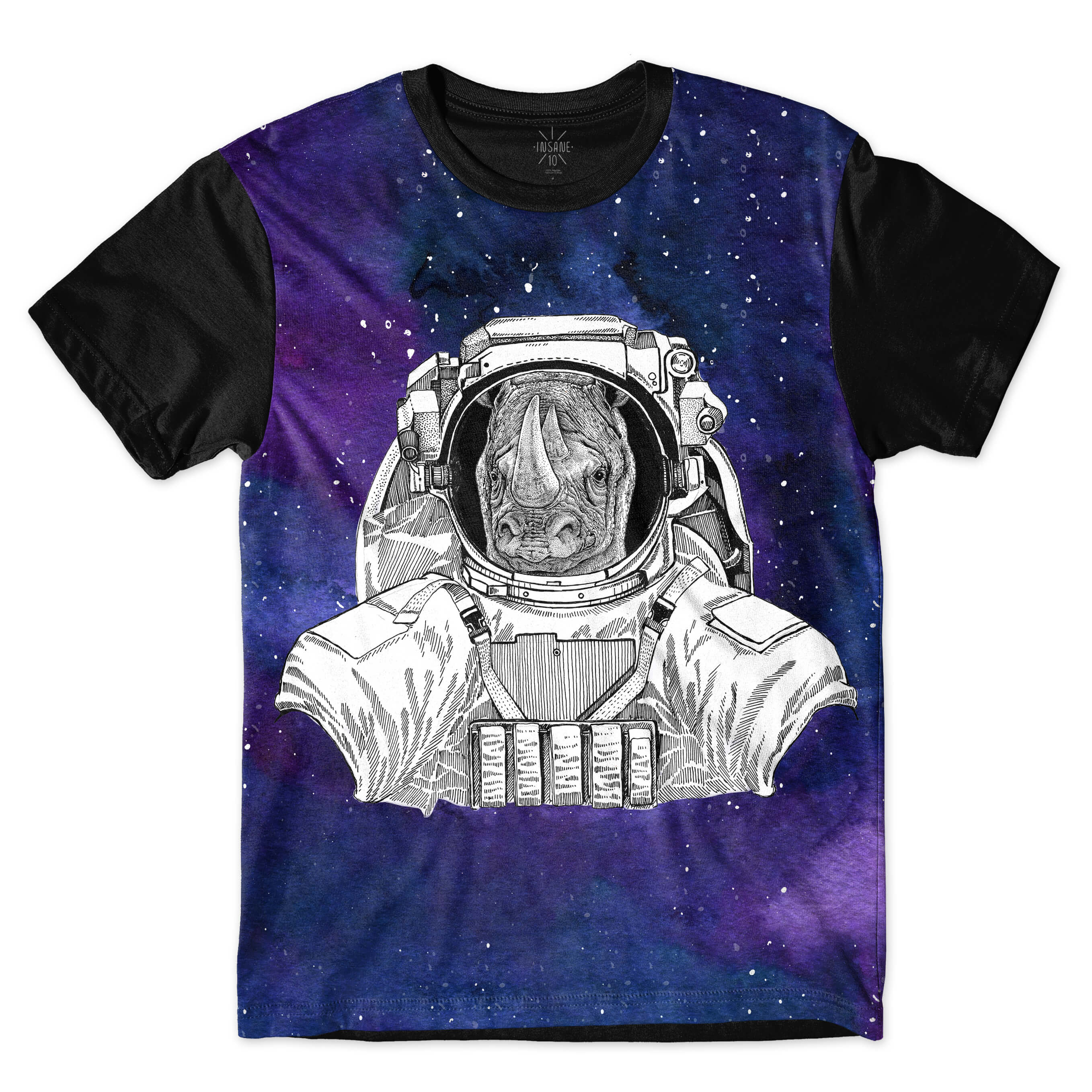 Camiseta Insane 10 Animal Astronauta Rinoceronte no Espaço Full Print Azul