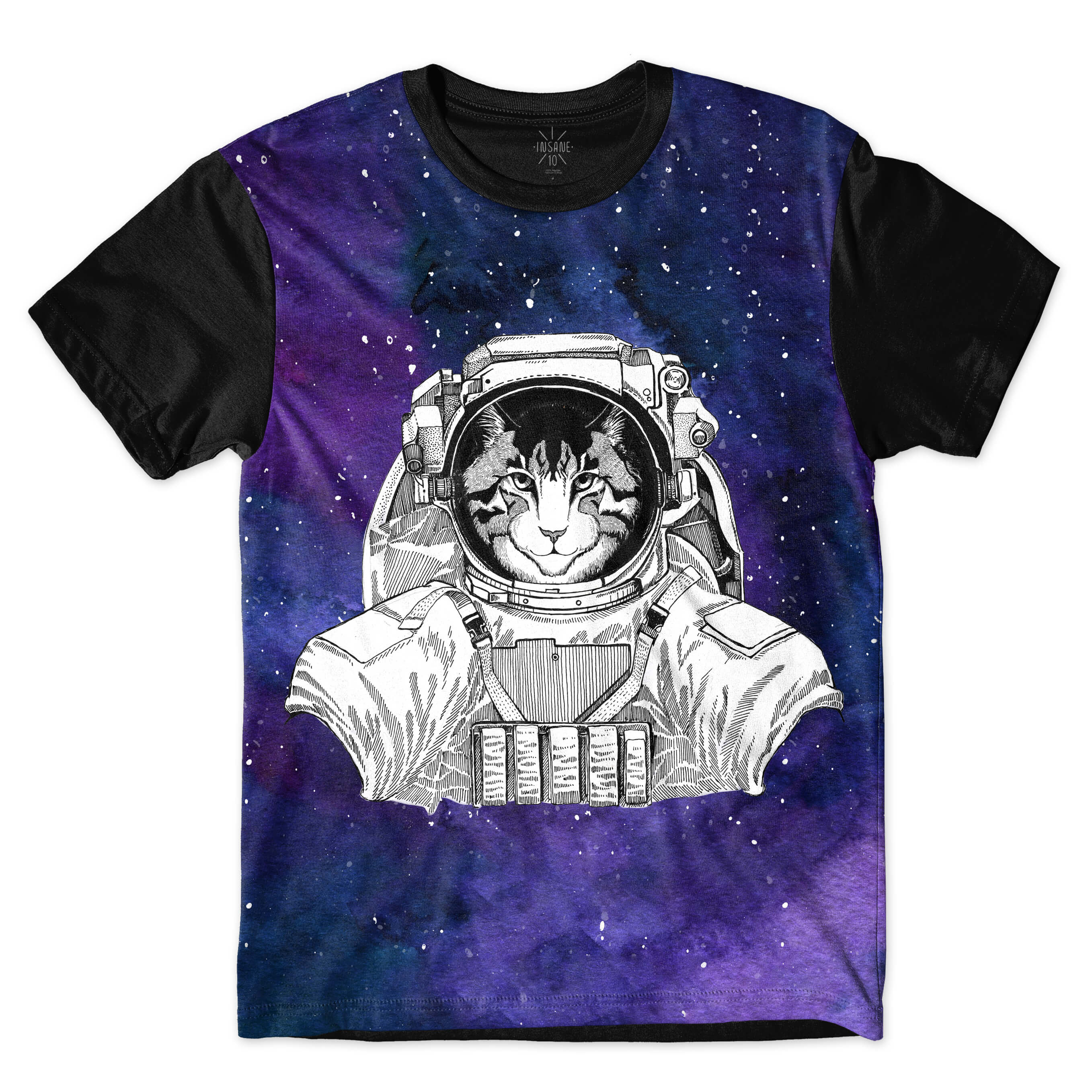 Camiseta Insane 10 Animal Astronauta Gato no Espaço Full Print Azul