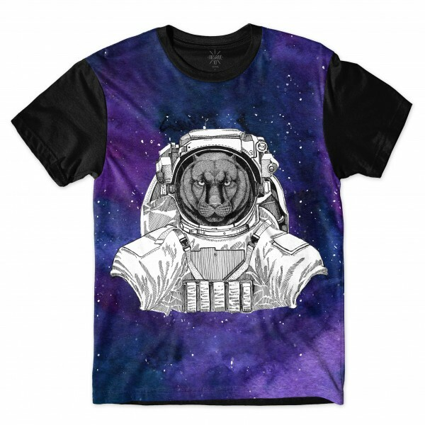 Camiseta Insane 10 Animal Astronauta Pantera no Espaço Full Print Azul