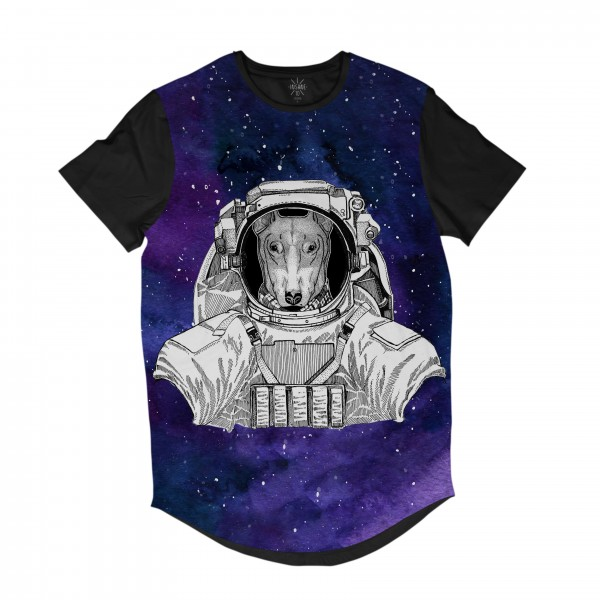 Camiseta Longline Insane 10 Animal Astronauta Bull Terrier no Espaço Full Print Cinza