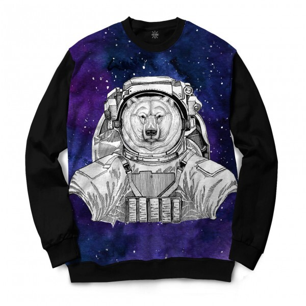 Moletom Gola Careca Insane 10 Animal Astronauta Urso Polar no Espaço Full Print Preto