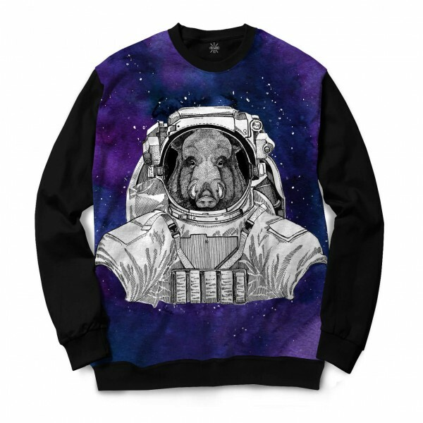 Moletom Gola Careca Insane 10 Animal Astronauta Javali no Espaço Full Print Preto