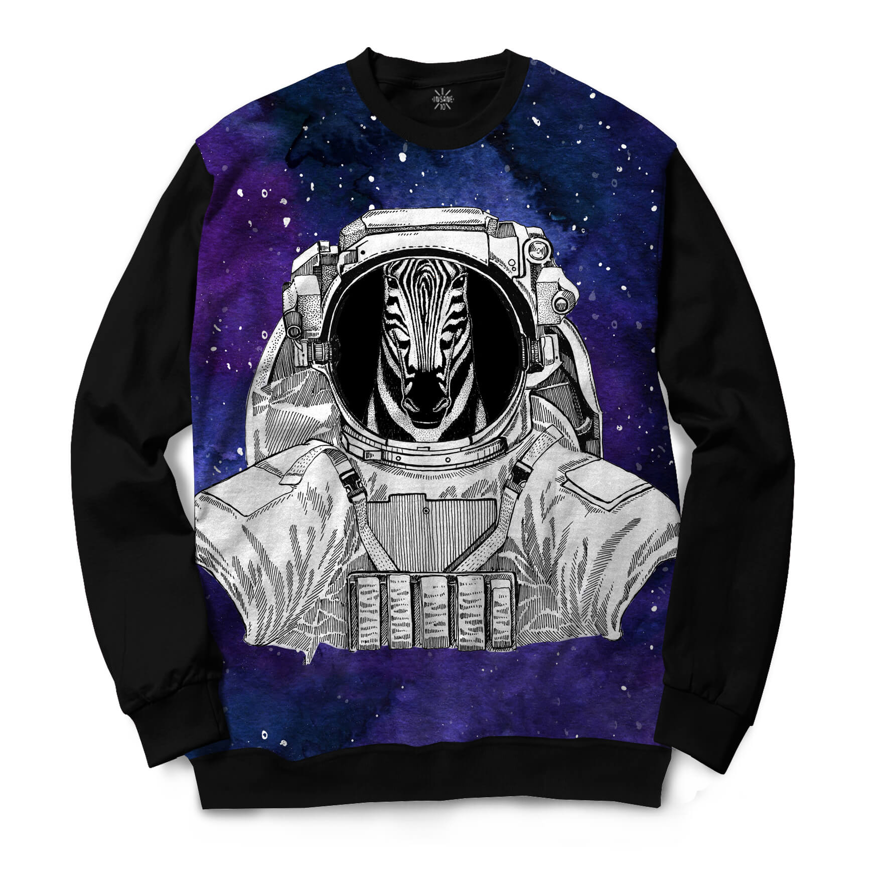 Moletom Gola Careca Insane 10 Animal Astronauta Zebra no Espaço Full Print Preto