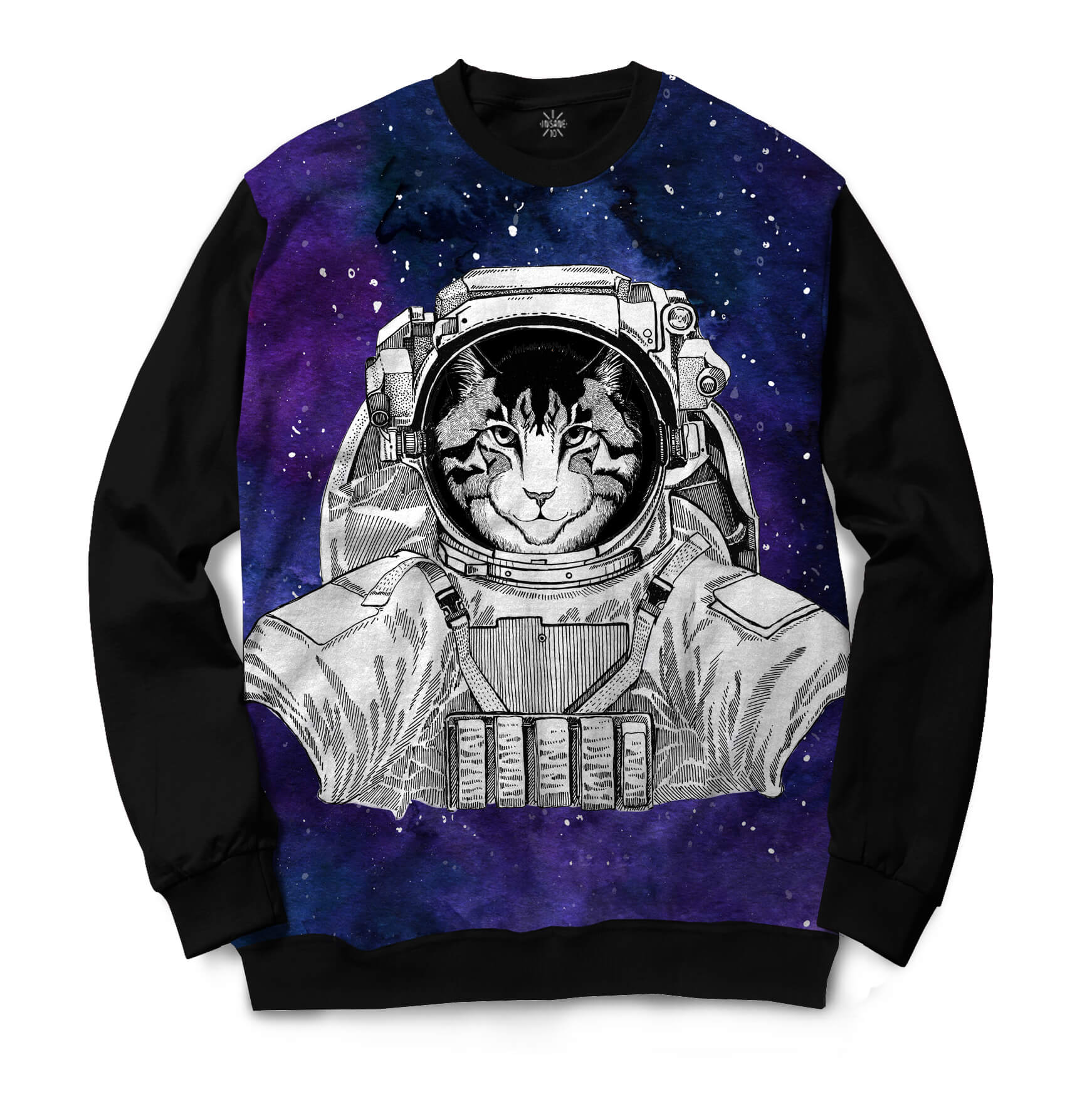 Moletom Gola Careca Insane 10 Animal Astronauta Gato no Espaço Full Print Preto