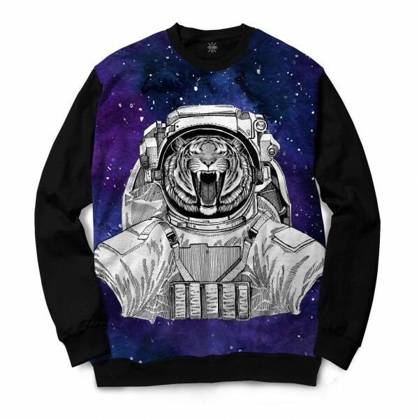 Moletom Gola Careca Insane 10 Animal Astronauta Tigre Bravo no Espaço Full Print Preto